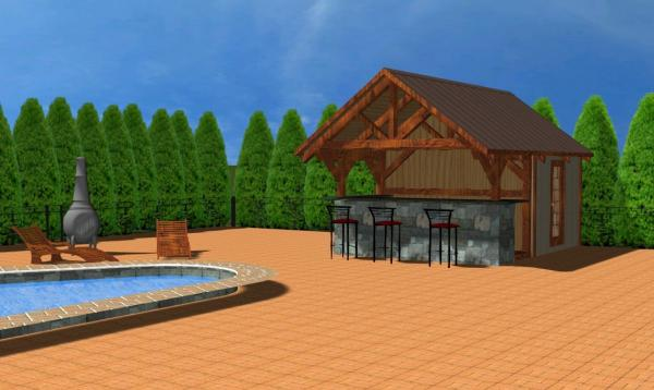 Siesta Pool House with Timber Frame 3D Rendering