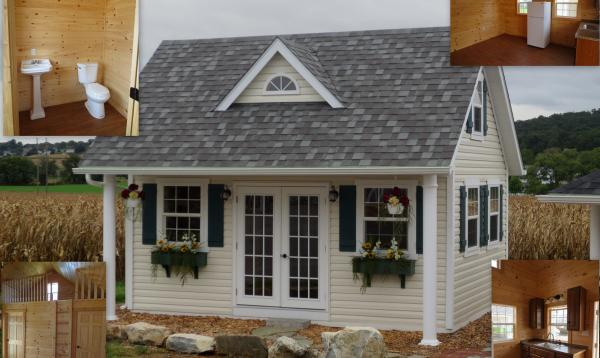 17' x 18' Heritage Pool House (vinyl siding) (finished Interior)