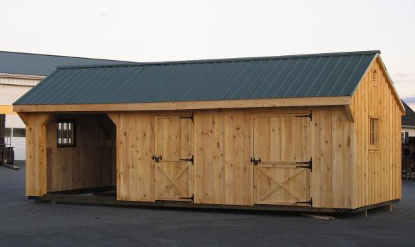 12' x 26' Quaker Horse Barn & Run In Barn (Board and Batten Siding)