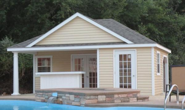 16' x 22' Wellington Pool Cabana with front bar & vinyl siding
