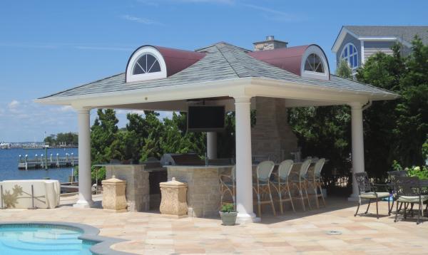 18 x 18 Vintage Pavilion with Bar & Outdoor Kitchen