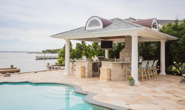 Custom Pavilion with high end outdoor kitchen