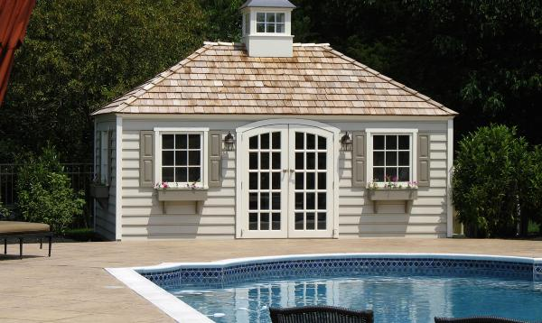 10' x 18' Laurel Hip Pool Shed (beaded Wood siding)