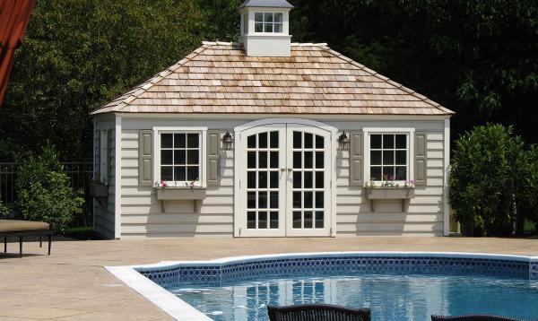 10' x 18' Laurel Hip Pool Shed (beaded Wood siding)