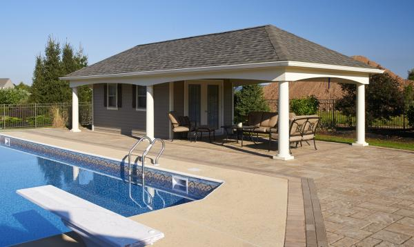 14' x 36' Custom Avalon Pool House (vinyl siding)