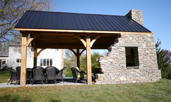 12 x 20 Custom Timberframe Pavilion with Stone wall