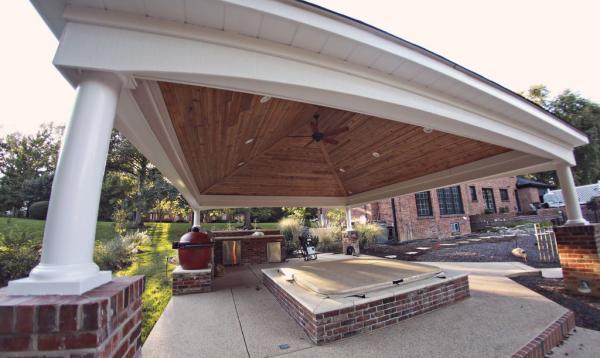 Backyard Pavilion with hot tub