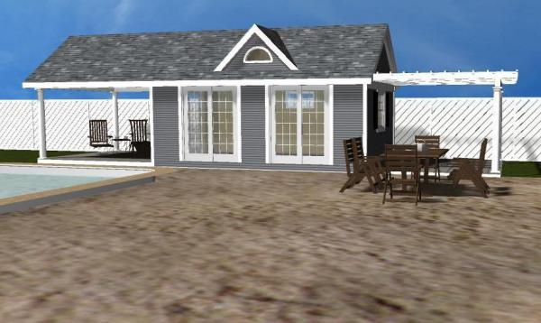 Classic A Frame Pool House 3D Rendering