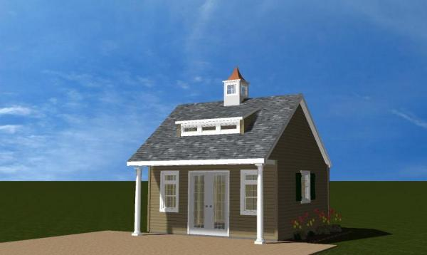 Heritage Pool House with Columns 3D Rendering