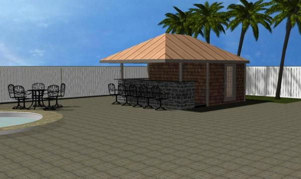 Siesta Pool House 3D Rendering