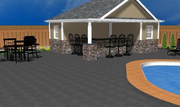 Wellington Pool House 3D Rendering