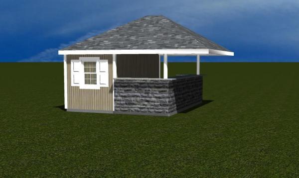 Siesta Poolside Pool House 3D Rendering
