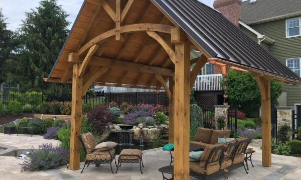 Timber Frame Pavilion with metal roof