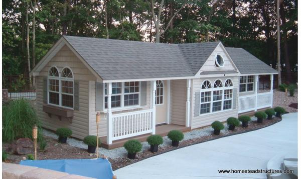 14 x 36 Custom Wellington Poolhouse with porch