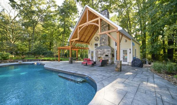 Custom Liberty Pool House with Wood Pergola in CT