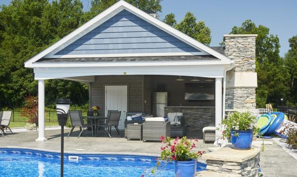 20' x 24' Custom Avalon Pool House with stone fire place