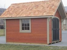 10' x 12' Garden Shed with a frame roof and mahogany stained siding