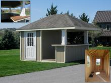10' x 12' Siesta Bar Shed with D-Temp siding and 9-Lite house door