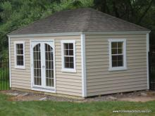 10' x 14' Laurel Hip Shed w/ Crown Molding Facia (Vinyl Siding)