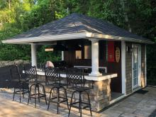 Exterior of a 10' x 14' Siesta Poolside Bar in Andover NJ