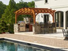 10x14 Arched Wood Pergola with Outdoor Kitchen