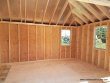 12' x 16' interior of a Classic hip roof shed