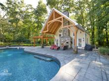 24' x 38' Custom Liberty Pool House with Timber Frame Pavilion & Wood Pergola