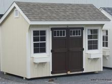 8' x 12' Quaker Shed - Cream and Brown