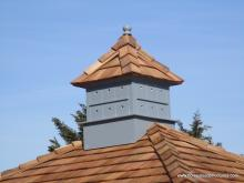 Birdhouse cupola with cedar shakes on an 8x10 Classic Hip Shed