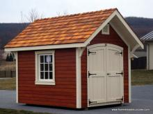 8' x 10' a frame garden shed with cedar stain siding