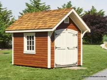 8' x 10' Premier Garden Shed with LP Lap siding with mahogany stain