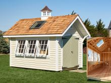 8' x 12' Premier Garden Shed with skylight & cupola