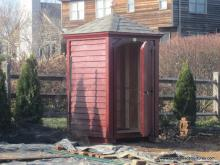 4' x 4' Laurel Hip Shed w/ Crown Molding Facia (Cypress Clapboard Siding)