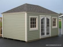 10' x 16' Laurel Hip Shed w/ Crown Molding Facia (Hardie Plank Siding)