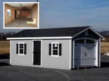 12x24 Classic Garage with White Carriage Style Garage Door