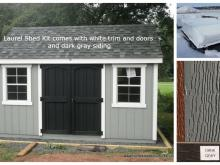 8x12 Laurel Shed Kit with dark gray siding and white trim