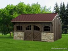 12' x 16' Carriage House Shed (Pine Board & Batten Siding)