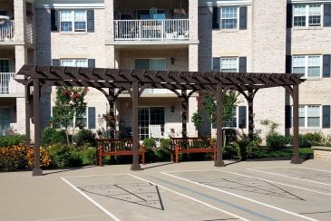 10' x 28' brown pergola for Willow Valley Communities in Lancaster PA