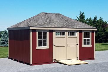 12' x 16' Classic Hip Roof Shed with ramp shown