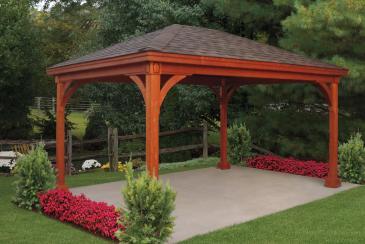 12' x 16' Keystone Wood Pavilion with Redwood Stain