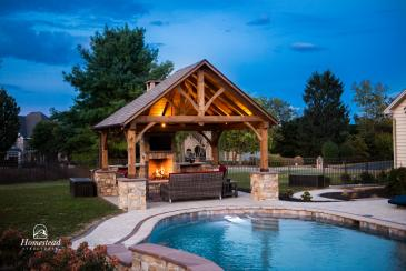 16' x 14' Timberframe Pavilion in PA with fireplace
