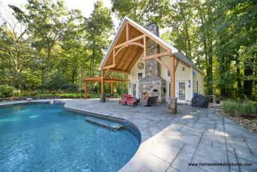 24 x 38 Custom Liberty Pool House with Timber Frame Pavilion & Pergola in CT