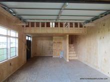 Interior of 1-car garage with loft