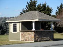 10' x 12' Siesta Hip Roof with Stone Facade
