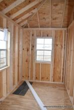 Unfinished interior of 10x12 Siesta with 2 windows