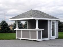 10' x 12' Siesta Hip Roof with trim panel bar front & 15-Lite door