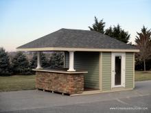 10' x 14' Siesta Poolside Bar with Hip Roof & Stone Veneer