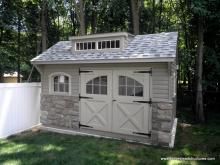 10' x 14' Keystone Quaker Carriage House Shed with 2 transom shed dormer