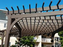 Close up of 10' x 45' curved radius pergola in Willow Valley Communities in Lancaster PA