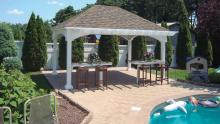 12' x 16' Manchester pavilion with pergola overhand